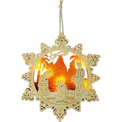 Lampe ornement à suspendre «Crèche d'étoile»