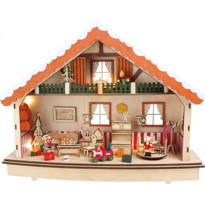 Boîte à musique et lampe Maison de Noël