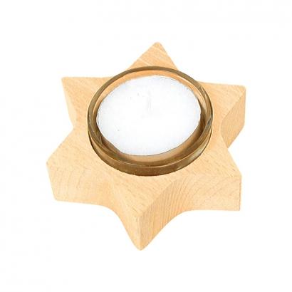 Photophore en bois à chauffe-plat Étoile