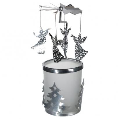 Manège à bougie en verre/métal Anges