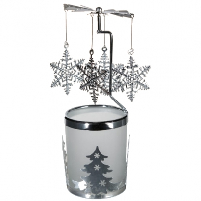 Manège à bougie en verre/métal Flocons
