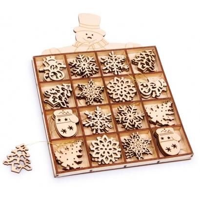 Boîte de 48 mini pièces en bois à suspendre