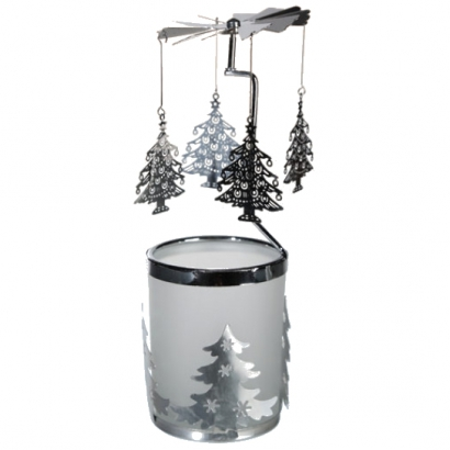 Manège à bougie en verre/métal Sapins
