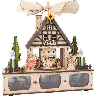 Lampe Pyramide Père Noël et Bonhomme de Neige