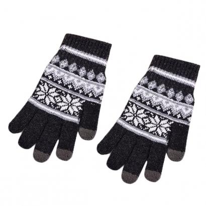 Gants gris foncé Flocon de neige pour écran tactile