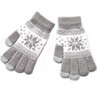 Gants taupe Flocon de neige pour écran tactile
