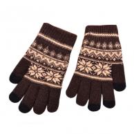 Gants marron Flocon de neige pour écran tactile