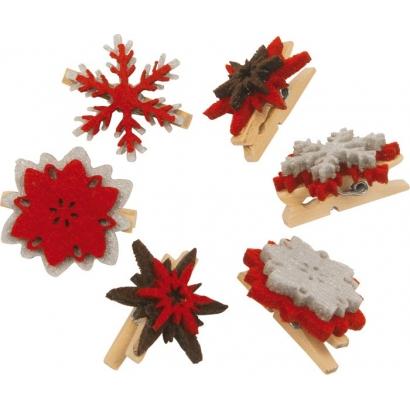 Set de 6 pinces Flocons de Noël
