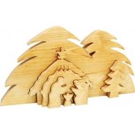 Crèche de Noël 3 dimensions en bois massif